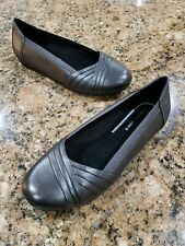 NWOB Abeo Frankly Gray Leather Ballet Flats Womens Comfort Orthotic Shoes 9 NEW