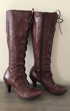 Born Crown Lace Womens Brown Leather Heel Knee High Boots Wingtip Steampunk