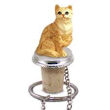 Red Shorthair Tabby Cat Hand Painted Resin Figurine Wine Bottle Stopper