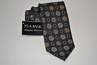 Jos A Bank Signature Blue Black Gold Purple Medallion Neck Tie 100% Silk NWT