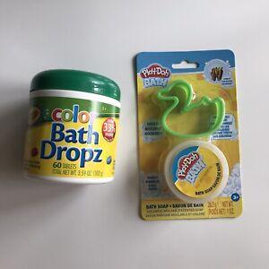 Crayola Color Bath Dropz 60 Tablets + Play-Doh Moldable Bath Soap Duck Lot (2)