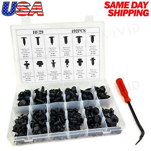 192pc Plastic Rivets Fastener Fender Bumper Push Clips w/ Removal Tool for Dodge