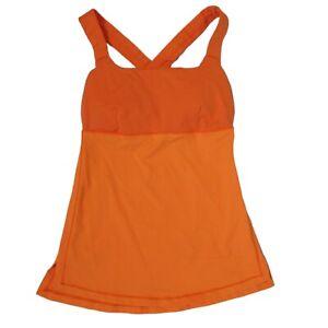 LuLulemon Women's Workout Tank Top W/ Built in bra criss cross back Orange XS 4