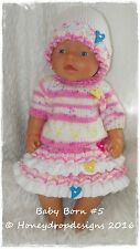 Honeydropdesigns  * PAPER KNITTING PATTERN #5 * For Baby Born/17 Inch Dolls
