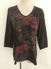 8d2e374070 CHICO S ZENERGY V-Neck Top T-Shirt Tee Brown w Multi-Color