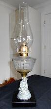 ANTIQUE PATD. NOV.26.72 FIGURAL OIL LAMP W/GREEK KEY PATTERN FONT~COMPLETE