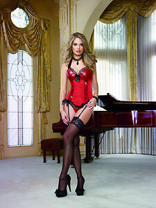 Beautiful Red Satin Halter Fully BonedBustier, Corded Back Lace-Up, Side Zipper!