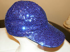 SEQUIN BASEBALL CAP HAT ROYAL BLUE GLITTERING WEAR ALL YEAR ! CHRISTMAS GIFT NEW
