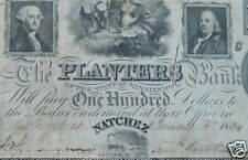 1834 One Hundred  Dollars($100) Obsolete Banknote - The Planters Bank Fine/VF