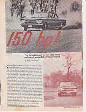 1962 CHEVROLET CORVAIR MONZA SPYDER  ~  ORIGINAL 5-PAGE ROAD TEST / ARTICLE / AD