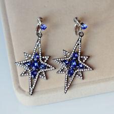 Boucles d`Oreilles Clip Argenté Art Deco Cristal Bleu Etoile Class Original X10