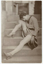 1920s French Risque n/ Nude CUTE FLAPPER COED Risque photo postcard
