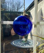 """Antique sorcières Ball Bristol Bristol Bleu Cobalt Verre à la main soufflé 4 1/2"""""""