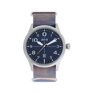 Mens Wristwatch + Watchband AVI-8 FLYBOY AV-4028-SETB-03 Leather Camouflage Blue
