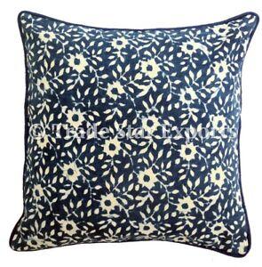 """Indian Block Print Cushion Cover Decorative Throw Pillow Case 16"""" Canvas Cushion"""
