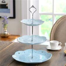 3 tier Ceramic Cake Plate Stand Porcelain Plates  Fruite Blue