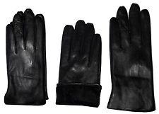 Italian styled Man's Fine leather gloves (M) Black winter gloves Guanti di pelle