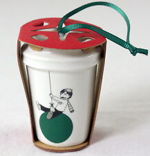 "Starbucks Coffee Ornament Christmas Boy w/Green Balloon Ceramic 2 3/4"" Tall"