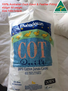 Puradown 100% Australian 80/20 Duck Down Cot Size 100 x 143cm Doona|Duvet|Quilt