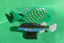 TWO WOODEN FISH, GREEN AND BLUE WITH PAINTED DETAILS