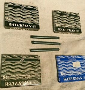 Waterman Fountain Pen Refills Black/Blue # 52001 and 52002, Made in France