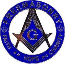 Freemason Masonic Hope Faith Charity Car Emblem Heavy Alloy Blue SILVER Decal