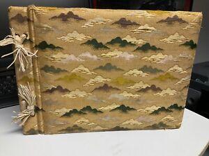 Japanese Photo Album Book Vintage Antique silk cover gold edge pages most empty