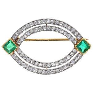1.70ct Natürlicher Diamant Smaragd 14K Gelbgold Hochzeitstag Brosche
