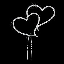 Silver Rhinestone Diamante Double Heart - 7cm Wedding Cake Topper