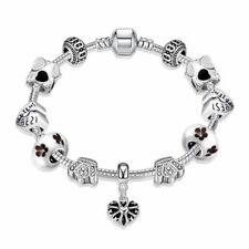 Lau-Fashion 925 Silber Damen Bettelarmband Armband Charms Anhänger Krone Herzen