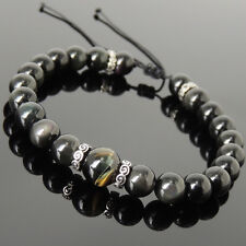 Mens Women Braided Bracelet Black Obsidian Tiger Eye 925 Sterling Silver Spacer
