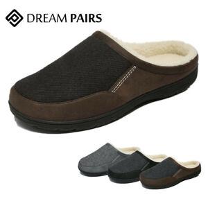DREAM PAIRS Men's Cozy Memory Foam Slippers Fuzzy Wool-Like Lining slip on Shoes