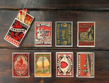 set of 8 matches box made in SWEDEN ad vintage ad style match holder printing