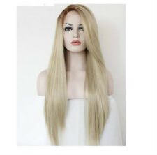 Fashion Blonde Brown Wig Long Kanekalon Synthetic Straight Wigs + Cap( Not Lace)