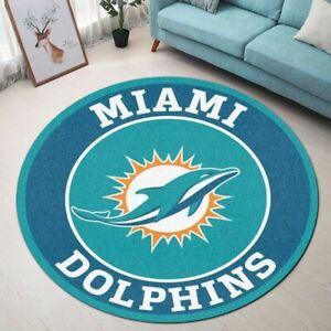 Miami Dolphins Fluffy Area Rug Round Rug Bathroom Floor Mat Bedroom Door Mat