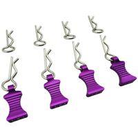 Hot Racing AC03EZ07 Purple Aluminum EZ Pulls (4) Body Clips (8) : 1/10 Cars