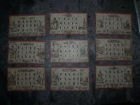 Jeu ancien - Loto alphabétique de Coqueret - 9 planches - usagées - vers 1860