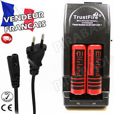 2 PILES ACCUS RECHARGEABLE 18650 3.7V 3800mAh + CHARGEUR TR-001 TRUSTFIRE RAPIDE
