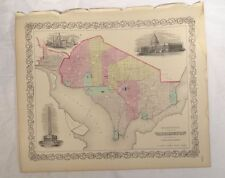 Antique Hand Colored Lithograph map Washington D.C. District of Columbia Capitol