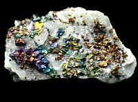 Rare Beauty 7Colored Chalcopyrite & Cube Calcite Crystal Mineral Specimen Y00547