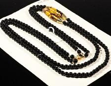 """Vintage 28"""" Czech necklace lampwork aventurine gold black topaz oval glass beads"""