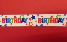 HAPPY BIRTHDAY STARS Grosgrain Ribbon 1 Metre X 22mm -Craft Gifts Cakes