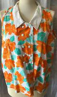 Stylishe Damen Bluse Gr 44(?) erfrischende Farben Orange Türkis Weiß ärmellos