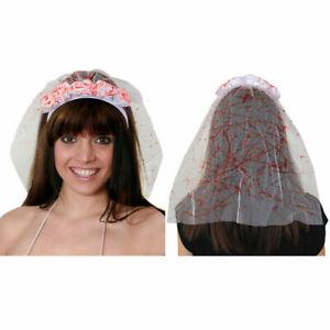 BLOODY ROSE VEIL HEADBAND FLOWER ADULTS HALLOWEEN FANCY DRESS FLORAL WHITE LACE