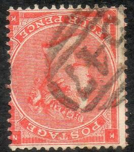 1863 4d Bright Red Inverted watermark  used, sg 81 wi cat £375++,