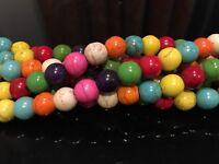 "Dyed Magnesite Multi-Coloured 8mm Round Beads 15.5"" Inch Strand - UK EBAYER"