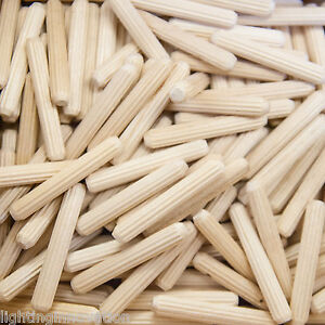 6mm x 40mm HARDWOOD WOODEN DOWELS CHAMFERED FLUTED PIN WOOD BEECH DOWEL GROOVED