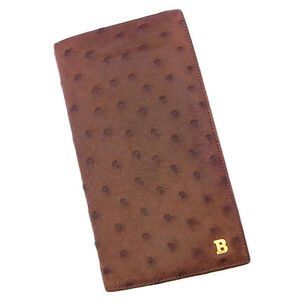 Bally Wallet Purse Long Wallet B logos Brown Gold Woman Authentic Used Y2854