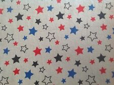 ~ FLANNEL ~ Stars ~ Quilting ~ Fabric~Flannelette~Grey~Red~Blue~Black~Boys~FQ ~