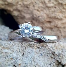 .925 Sterling Silver Wedding Set size 9 CZ Engagement Ring Bridal Ladies New w64